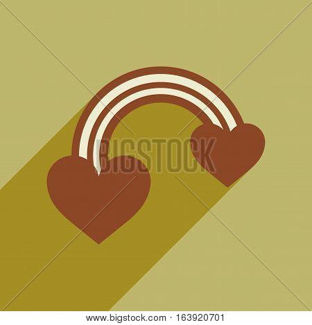 Flat web icon with long shadow rainbow heart