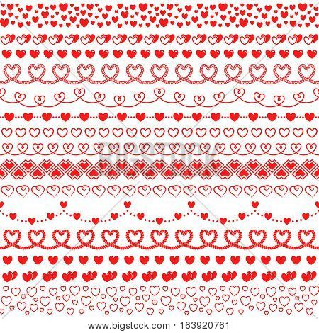 Vector set of hands with hearts to create frames and borders. Romantic collection for decorating greeting cards for Valentine's day wedding invitations. The brush included in the file.