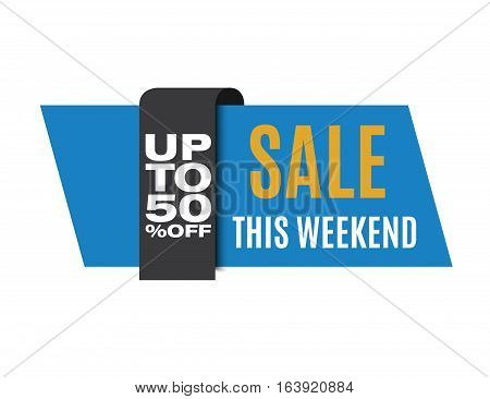 Sale banner. Blue discount image. This weekend only. Vector eps10