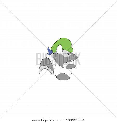 Cartoon style badger mascot isolated on white background.