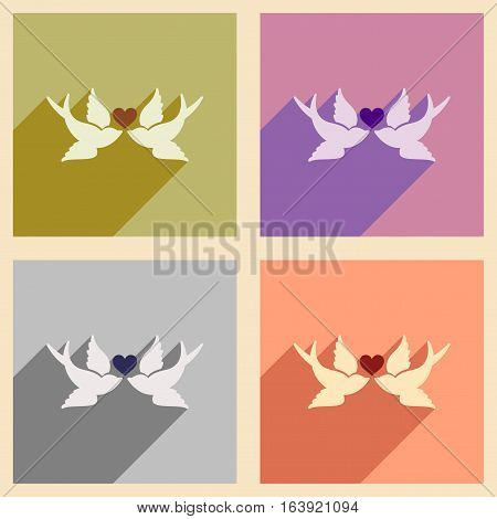 Set of flat web icons with long shadow birds heart
