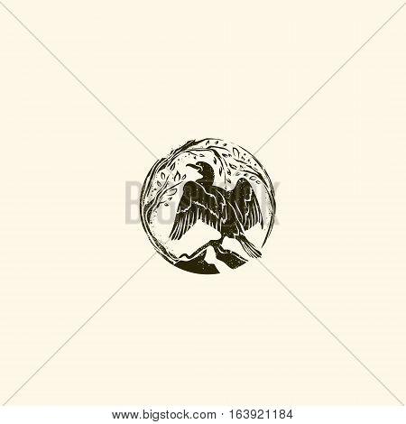 Abstract Round Cormorant Wild Vintage Logo Design