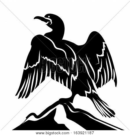 Abstract Cormorant in Black Over White Background