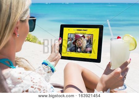 Women using video chat app with her friend