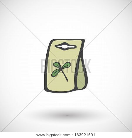 Seed packet. Hand-drawn cartoon gardening icon with round shadow. Vector illustration.
