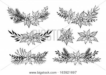 Hand Drawn Vector Set Of Winter Wreaths ( Laurel, Leaf, Holly, Fir And Pine Branches, Berry, Flower,