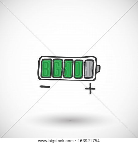 Battery icon. Hand-drawn cartoon energy icon with round shadow. Vector illustration.