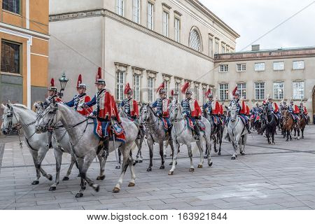 Copenhagen Denmark - January 04 2017: The Guard Hussar Regiment preparing for escorting Queen Margrethe in a 24-carat golden coach from Christiansborg Palace to Amalienborg Palace