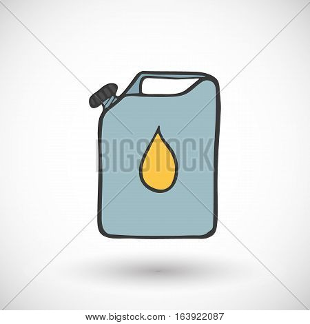 Metal canister of gasoline or oil icon. Hand-drawn cartoon gas station icon with round shadow. Vector illustration.