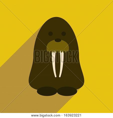 Flat web icon with long shadow walrus