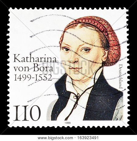 GERMANY - CIRCA 1999 : Cancelled postage stamp printed by Germany, that shows Katharina von Bora.