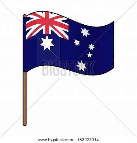 Australian flag icon in cartoon design isolated on white background. Australia symbol stock vector illustration.