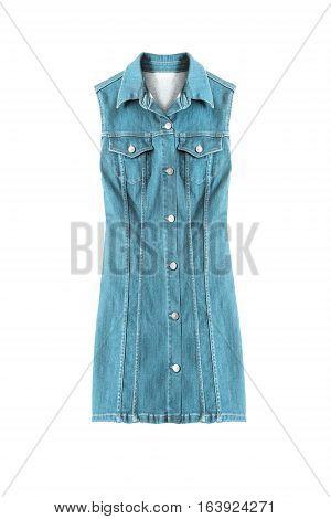 Blue denim sleeveless dress on white background