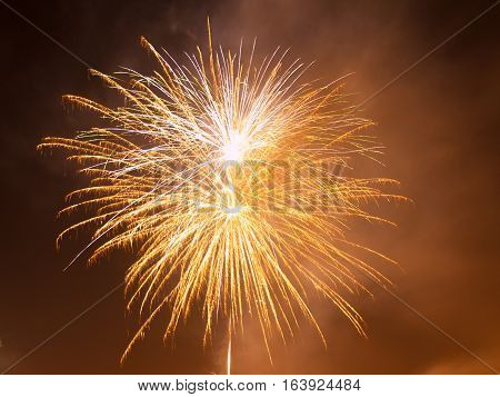 Colorful fireworks in the night sky. Happy new year celebration abstrackt background.