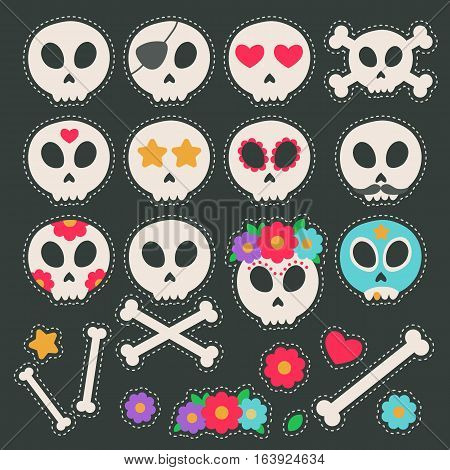 Fashion patch badges with skulls hearts stars and other elements. Vector illustration isolated on black background. Set of stickers pins patches in flat style.