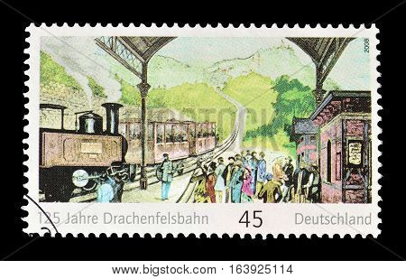 GERMANY - CIRCA 2008 : Cancelled postage stamp printed by Germany, that shows Train station.