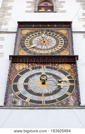 Historic tower clocks on the Goerlitz town hall, Germany