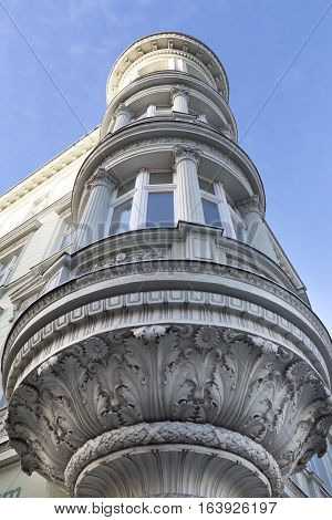 Historic renovated oriel on a house in the town of Goerlitz, Germany