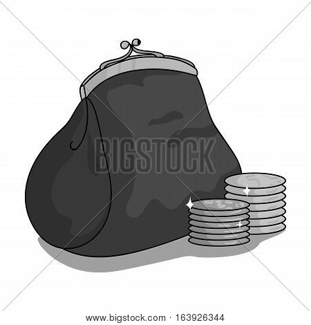 Purse with coins icon in monochrome design isolated on white background. Supermarket symbol stock vector illustration.