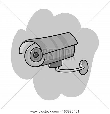 Security camera icon in monochrome design isolated on white background. Supermarket symbol stock vector illustration.