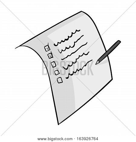 Shopping list icon in monochrome design isolated on white background. Supermarket symbol stock vector illustration.