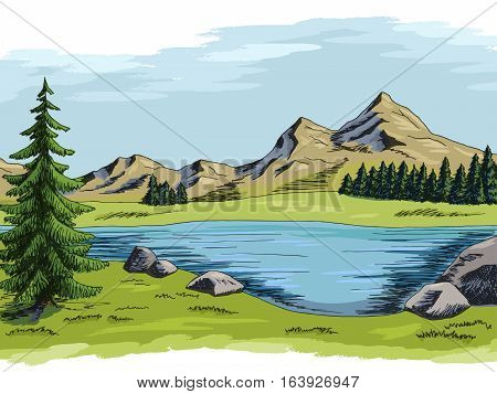 Mountain lake graphic color landscape illustration vector