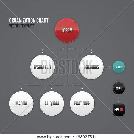 Organization Chart Template With Round Elements. Eps10.