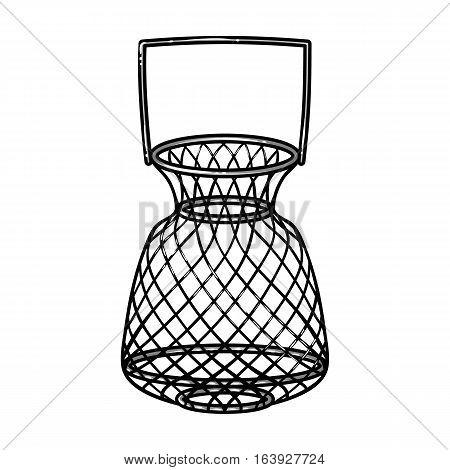 Fishing net icon in monochrome design isolated on white background. Fishing symbol stock vector illustration.