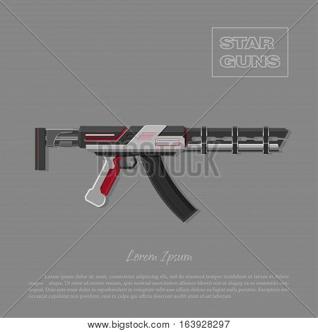 Futuristic machine gun for shooter games. Laser space weapon. Vector illustration