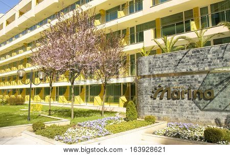 SAINTS CONSTANTINE AND HELENA BULGARIA - APRIL 04 2015: hotel Marina in spring in Saints Constantine and Helena the oldest first sea resort of Bulgaria exists from 19 century.