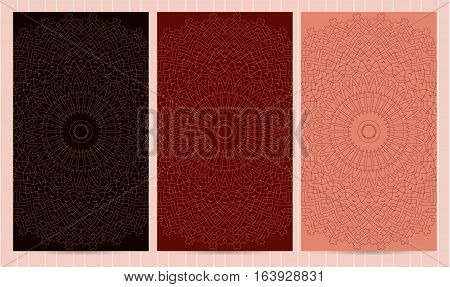Set Of Flyers In Red, Crimson Color. Collection Of Business Templates, Islamic, Eatern, Ornate Style