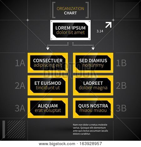 Modern Techno Organization Chart Template.