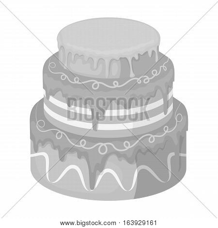 Blue three-ply cake icon in monochrome design isolated on white background. Cakes symbol stock vector illustration.