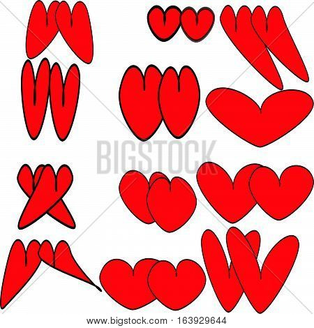 Twelve pairs of round and oval, elongated and long red hearts with a subtle stroke painted plump and thin, like real couples