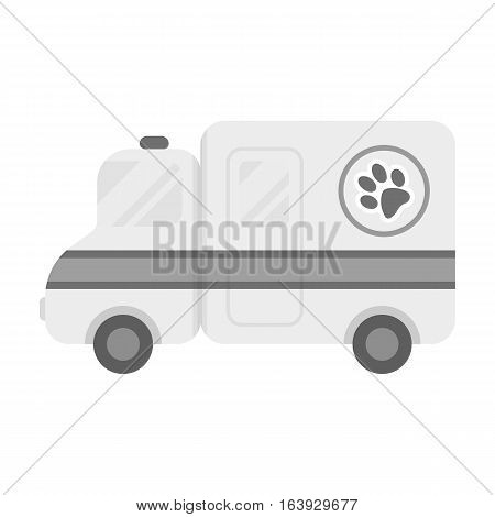 Veterinary ambulance icon in monochrome design isolated on white background. Veterinary clinic symbol stock vector illustration.