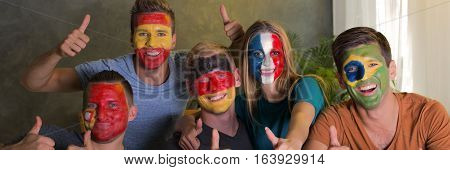 Multinational Sport Fans With National Flags