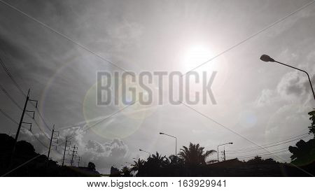 Sunrise in the sky cloud in the morning at local life Thailand Asia Black and white photo and graphic lens flare color.