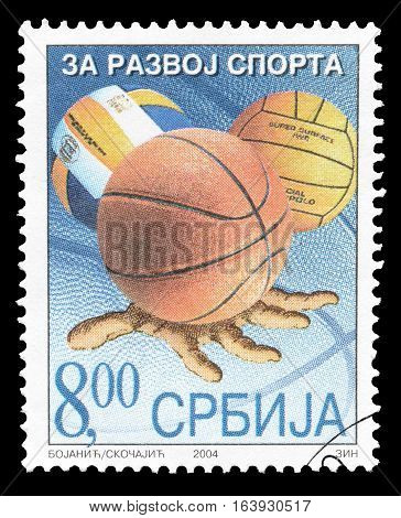 SERBIA - CIRCA 2004 : Cancelled postage stamp printed by Serbia, that shows Balls.