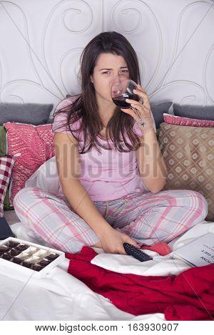 Desperate Woman Drinking Wine