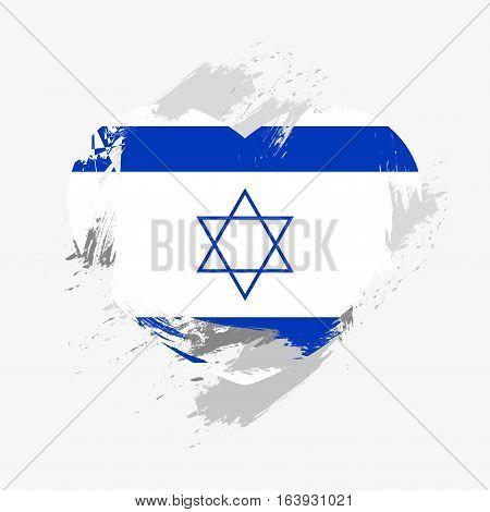 Flag of Israel isolated on grunge heart. Vector illustration