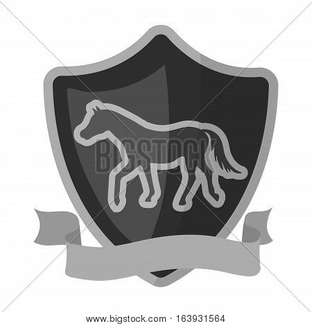 Equestrian blaze icon in monochrome design isolated on white background. Hippodrome and horse symbol stock vector illustration.