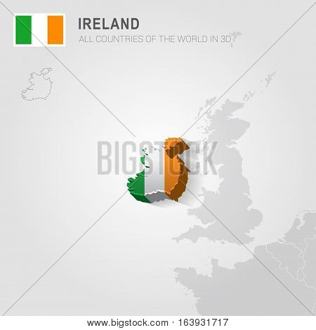 Ireland and neighboring countries. Europe administrative map.