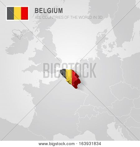 Belgium and neighboring countries. Europe administrative map.