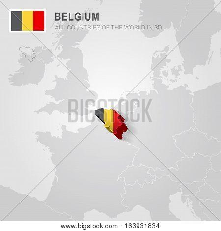 Belgium and neighboring countries. Europe administrative map.