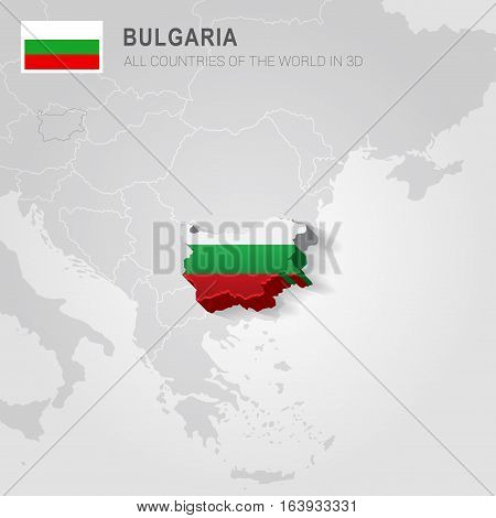 Bulgaria and neighboring countries. Europe administrative map.