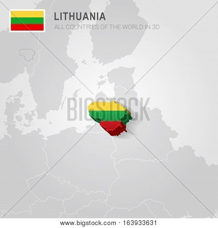 Lithuania and neighboring countries. Europe administrative map.