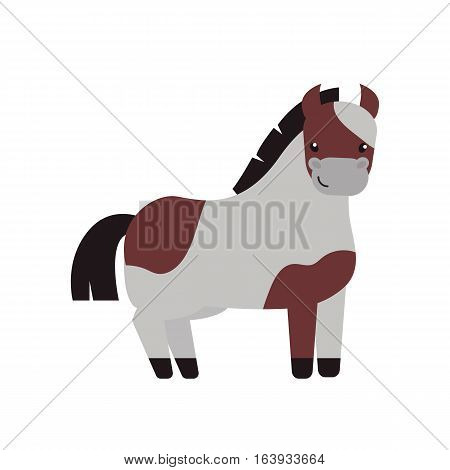 Horse pony stallion isolated on white background. Funny breeds color farm equestrian vector. Cartoon mammal silhouette domestic animal character.