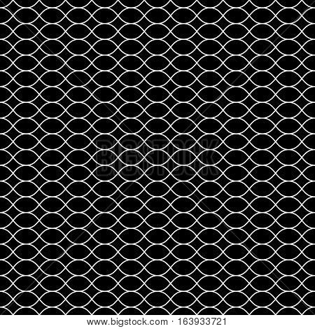 Vector seamless pattern, white thin wavy lines on black backdrop. Illustration of mesh, fishnet, lattice. Subtle monochrome background, simple repeat texture. Design for prints, decoration, digital projects, textile, cloth, furniture