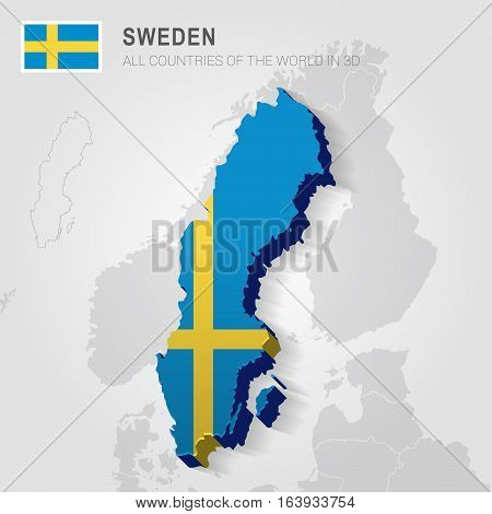 Sweden and neighboring countries. Europe administrative map.
