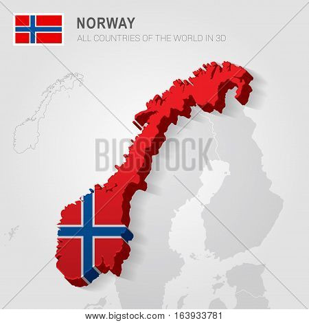 Norway and neighboring countries. Europe administrative map.
